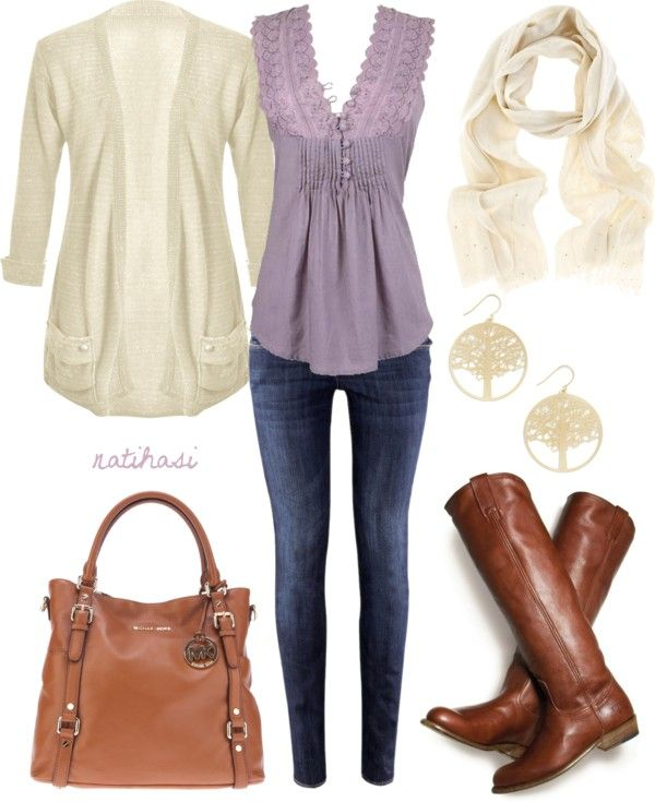 """Yes to anything lavender and lace. """"Cute Spring Outfit"""" by natihasi on Polyvore./ Love this outfit..have the boots. Need to work on the rest."""