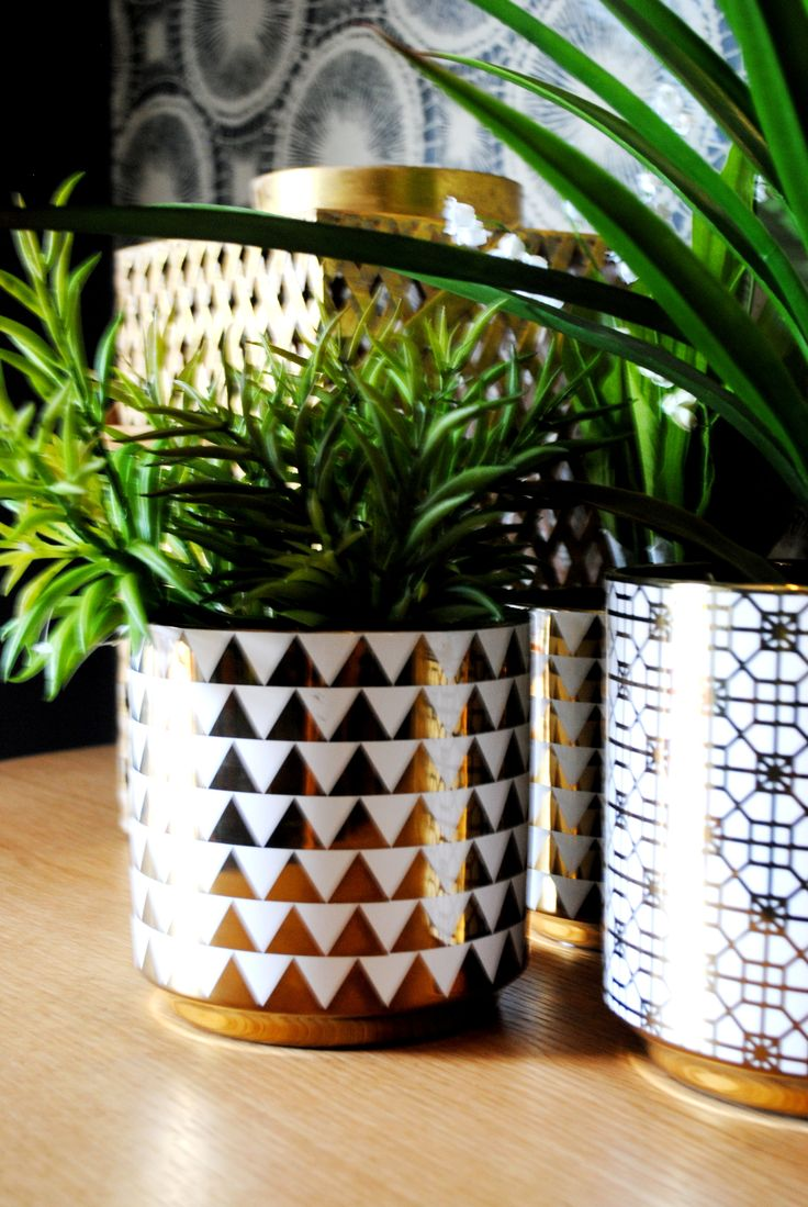 Metallic planters and hurricane vases. Huge trend for 2016, especially in these bold geometric prints.