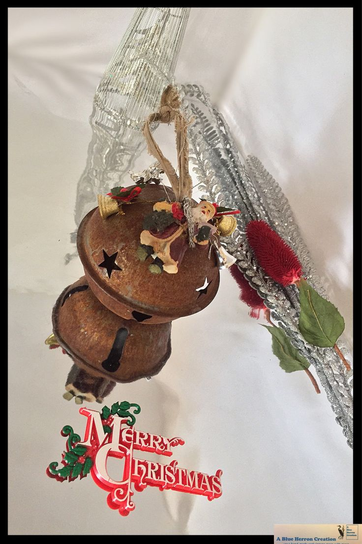 Vintage Rusty Jingle Bell, Rustic Santa Bell, XLarge Bell Ornament with Christmas Ornaments, Rustic Large Bell, MCM Decor, Gifts Under 25 by ABlueHerronCreation on Etsy
