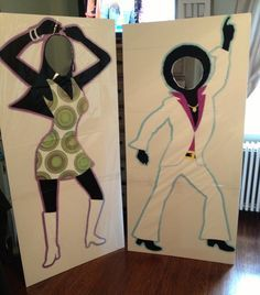 Cut outs of disco people. Fun to take pictures with kids and adults!