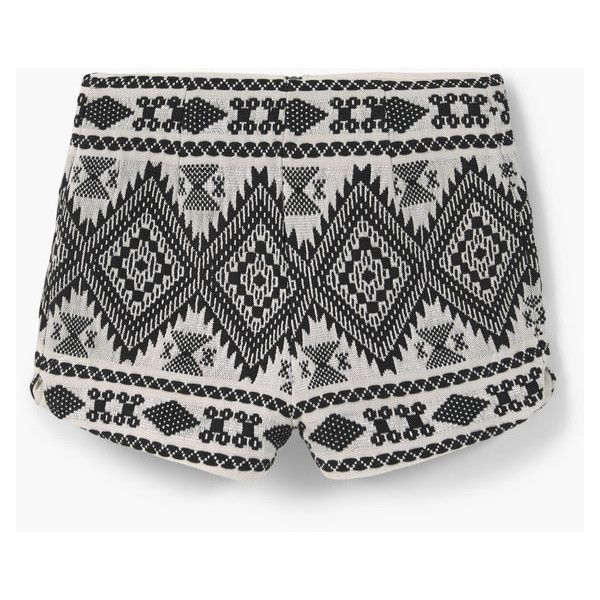 MANGO Cotton Jacquard Shorts (185 AED) ❤ liked on Polyvore featuring shorts, bottoms, zipper shorts and mango shorts