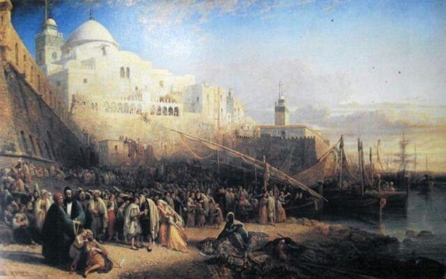 Algérie - Peintre AnglaisWilliam WYLD(1806-1889 ), huile sur toile ,Titre :Le départ d'Israélites pour la terre sainte a partir du port d'Alger