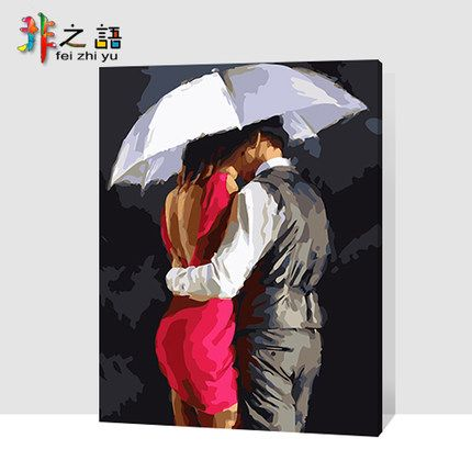 Номера Язык поделки цифровой живописи гостиной пейзаж цветы персонажей мультфильма окрашенные декоративной живописи резко пара в любви - Taobao