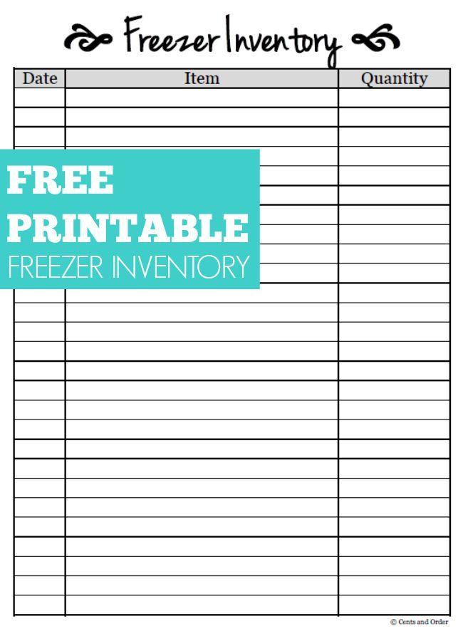 Free PrintableFreezer Inventory Sheet  DIY Ideas  Freezer Freezer inventory printable