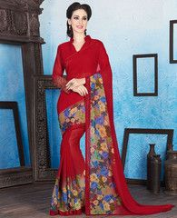 Red Color Georgette Casual Wear Sarees : Manvika Collection  YF-41103