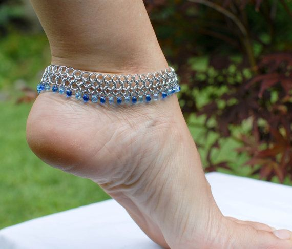 Breezy Silver Anklet with Blue Beads  Ready to by DaisiesChain, $20.00