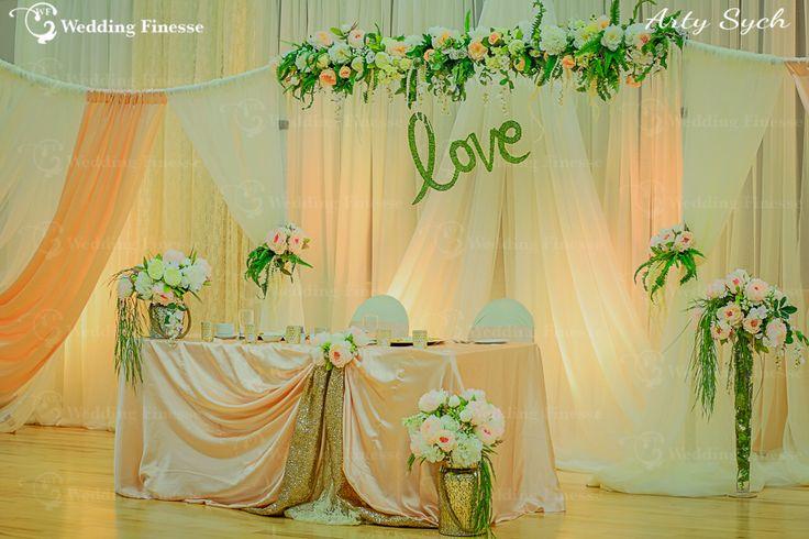 Spring Wedding Decor. Head Table with Backdrop.