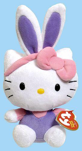 Hello Kitty (Easter, purple bunny ears) - cat - Ty Beanie Babies