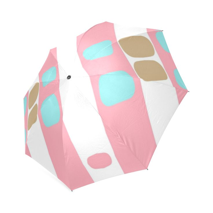 pastel stripes with dots umbrella Custom  Auto Foldable Umbrella 01.