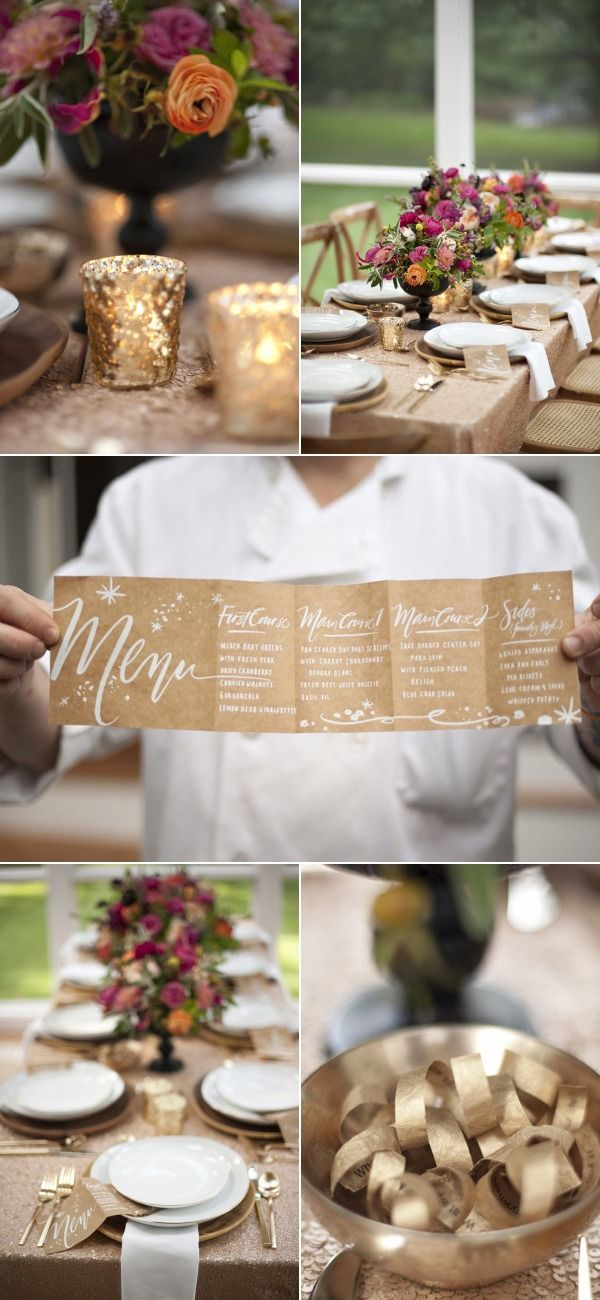 Sparkling gold accordian fold menu via SMP at Home: A Surprise Party, Part IV | Style Me Pretty