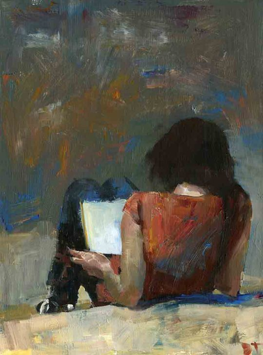 Red Shirt on the Steps   -   Darren Thompson   American, b.1960s  Oil on canvas