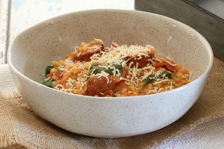 Thermomix Chorizo, Tomato & Baby Spinach Risotto