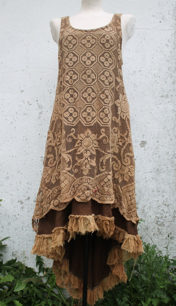the bohemian ruffled lace dreamers long dress     by linusmanus, €155.00