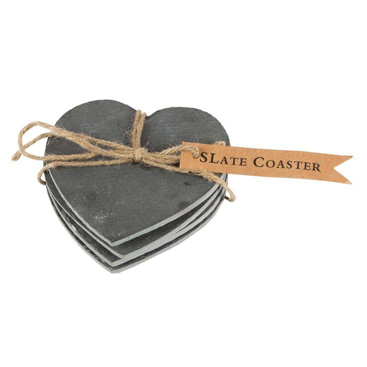 Set Of 4 Slate Heart Coasters