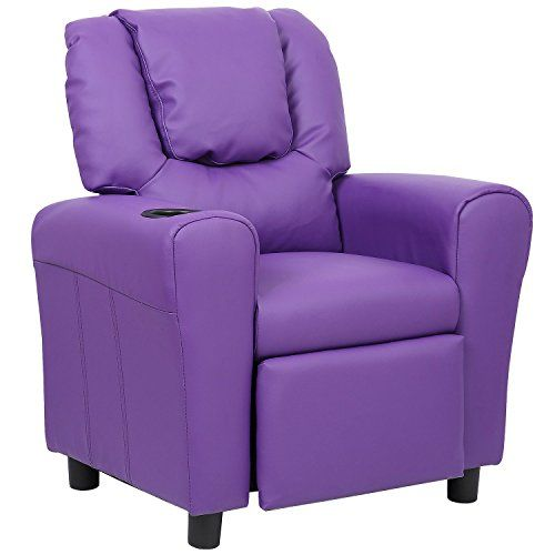Kids' Sofas - Merax Child Recliner With Cup Holder Purple PU Leather -- Learn more by visiting the image link.