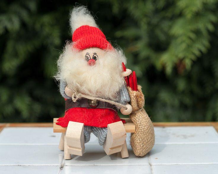 Handmade Swedish Christmas Wood Elf Gnome with Skis Ljungstroms Sweden Folk Art