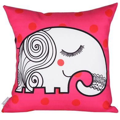 Cushion Design Lucky Elephant Fuşya Yastık Kılıfı _ Netlence.com