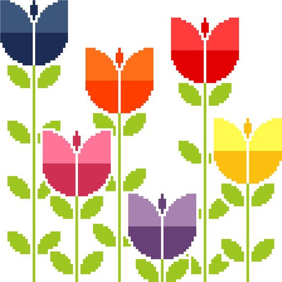 """I love the naïve patterns of the 60's and 70's. They are always so bright and lively, they actually make me smile! This listing is for the PDF cross stitch chart shown, featuring a group of brightly coloured retro inspired tulips. It's worked over 112 X 112 stitches and it will measure 8"""" (approx 20cm) square on Aida count 14. You will receive 1 PDF chart (see extract above) that prints onto 4 pages together with a 2-page cover containing basic instructions, colour keys and a full image of…"""