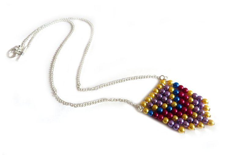 Collana da donna Chevron Style perline Giallo Viola Rosso Blu, by «:::Mosquitonero Shop:::», 13,90 € su misshobby.com