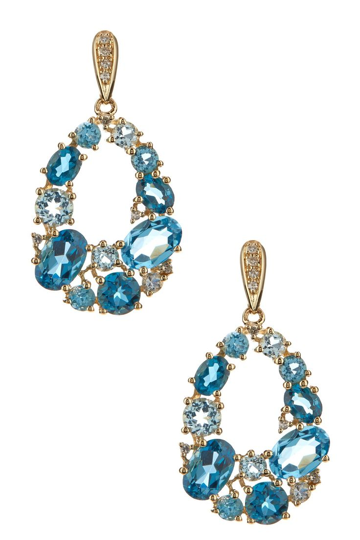 14K yellow gold prong set multicolor gemstone teardrop-shape loop cluster with a diamond accented stud drop earrings
