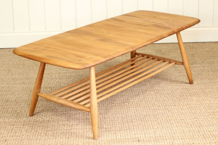 Vintage Retro Blonde Ercol Coffee Table With Magazine Rack Mid Century £320.00…