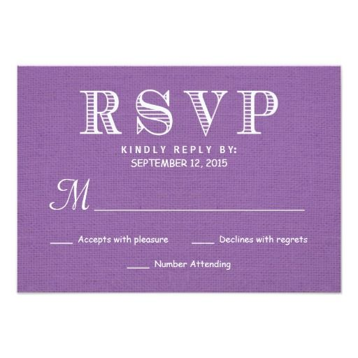 RSVP Rustic Burlap Orchid Wedding Reply 3.5x5 Paper Invitation Card