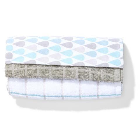 3 Pack Tea Towels - Raindrop   Kmart