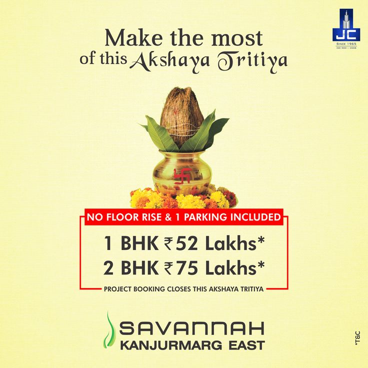 LAST DAY to Book your Dream Home at 1BHK-52Lakhs* & 2BHK-75Lakhs* with NO FLOOR RISE & 1 PARKING INCLUDED,only at Savannah by JAYCEE HOMES at Kanjurmarg-E. Call: 02267342211 or visit: www.savannah.co.in