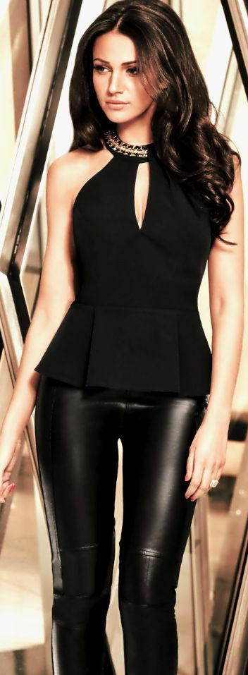 I like the shirt, but not the pants. Women's fashion | Faux leather pants and peplum top