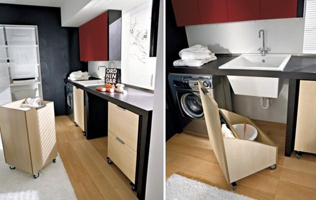 !!!Lavanderia!!! Espaços inteligentes. amários móveis. *Adorei essa opção de gaveta móvel debaixo da pia!!! Área-de-servico-pequena