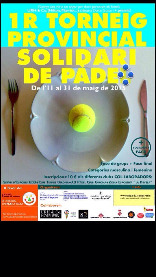 """Portàvem dies treballant amb l'organització d'aquest esdeveniment esportiu solidari: 1 er TORNEIG PROVINCIAL SOLIDARI DE PÀDEL buscant tots els ingredients pq tothom que jugui a PÀDEL pugui col-laborar amb la campanya """" A L'ESCOLA, UN PLAT A TAULA"""". Volem agraïr als 4 clubs esportius que han col-laborat desinteressadament la seva participació: Club Tennis Girona, X3 Pàdel Club Girona, Servei d'Esports de l'UdG i la Zona esportiva """"LA DEVESA"""". I a tots els col-laboradors que han col-laborat."""