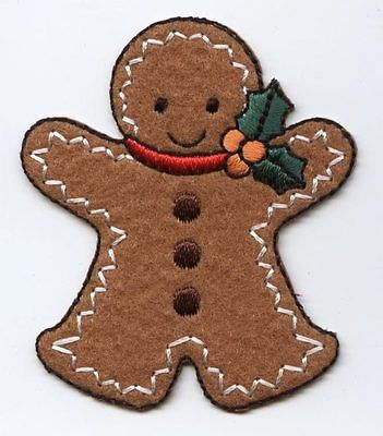 Iron On Patch Embroidered Applique Christmas Gingerbread Man with Holly LARGE