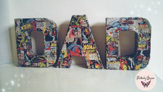 This dad set is the perfect gift for any superdad  The set consists of 3 letters.  These superhero wall letters are crafted from strong paper