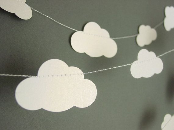 [stork + cloud baby shower] cloud garland/bunting by youngheartslove on Etsy - so sweet for a baby shower