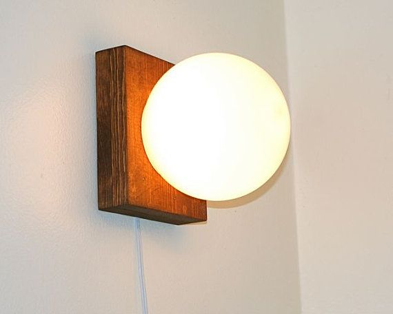 Simple Modern Globe Light White Sphere Lamp Wood Wooden Base Wall Sconce Accent…