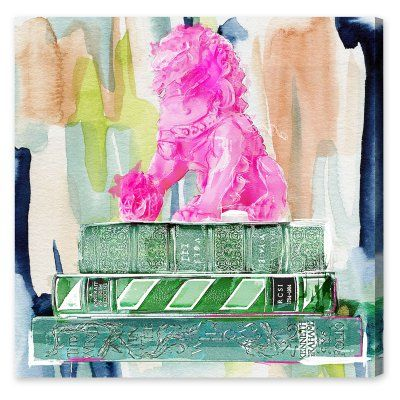 Oliver Gal Foo and Books Pink Canvas Art - 20646_43X43_CANV_XHD