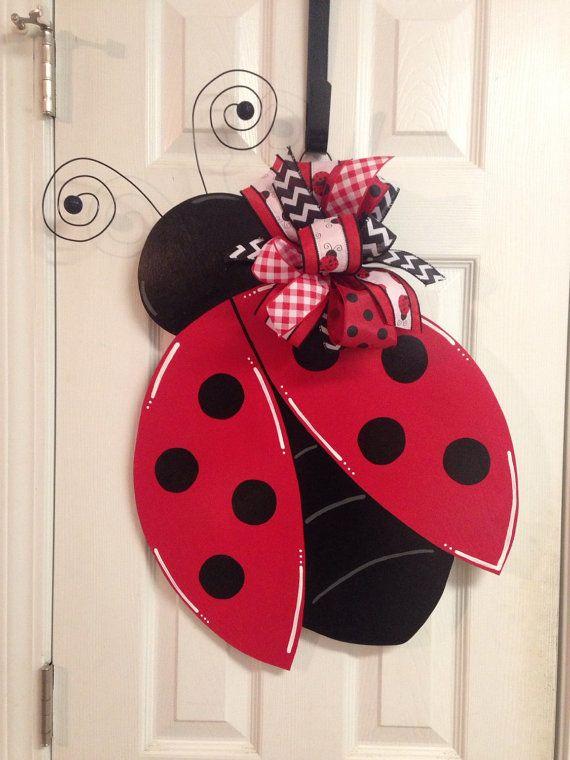 spring  summer ladybug hand painted door hanger