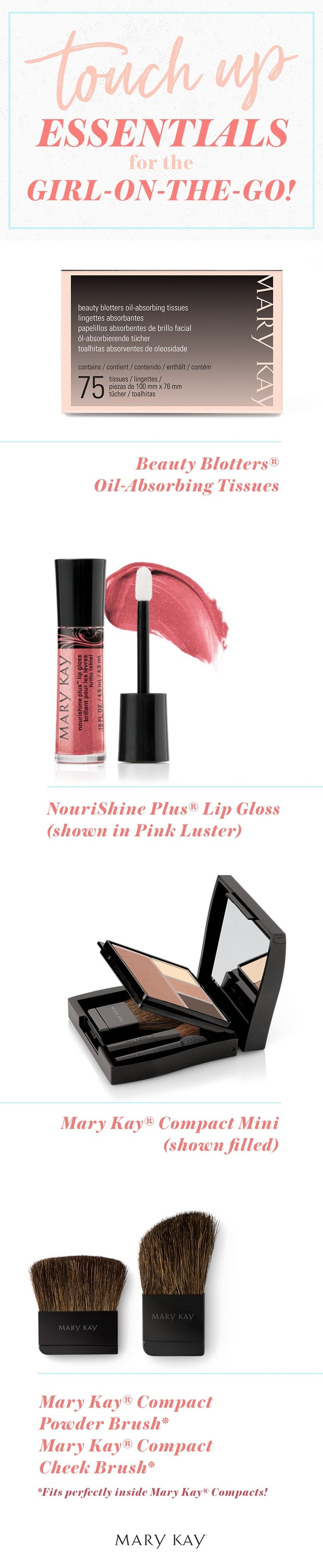 A girl-on-the-go needs products that can keep up with her busy schedule! Oil blotters, lip gloss, and a purse-perfect compact are all you need to keep your beauty look on point all day long!  | Mary Kay