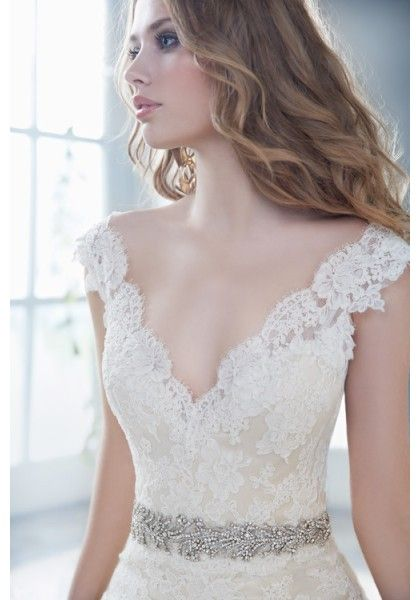 V Neck Chapel Train Lace Sheath Column Wedding Dress - $221.49