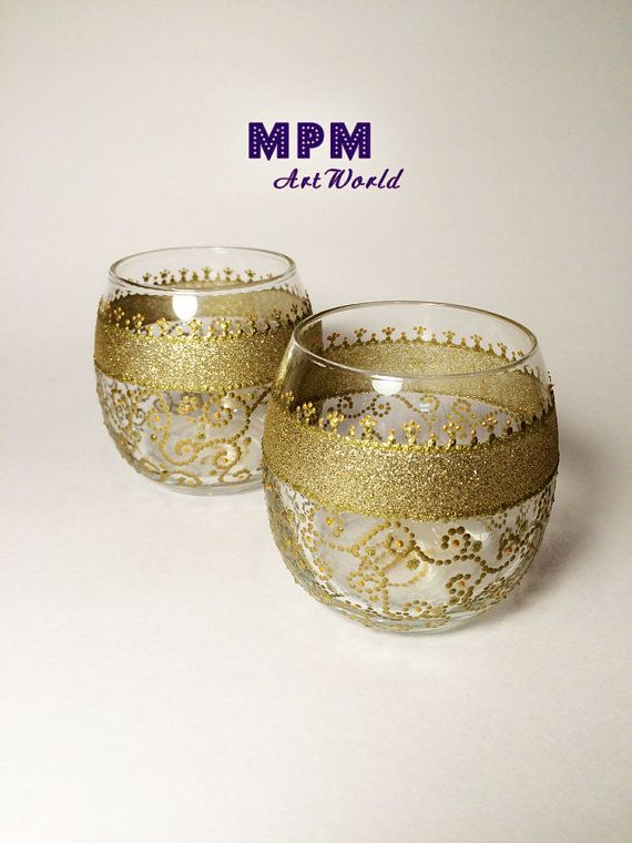 Gold Filigree. Pair Tea Light Candle Holders. by MPMArtWorld