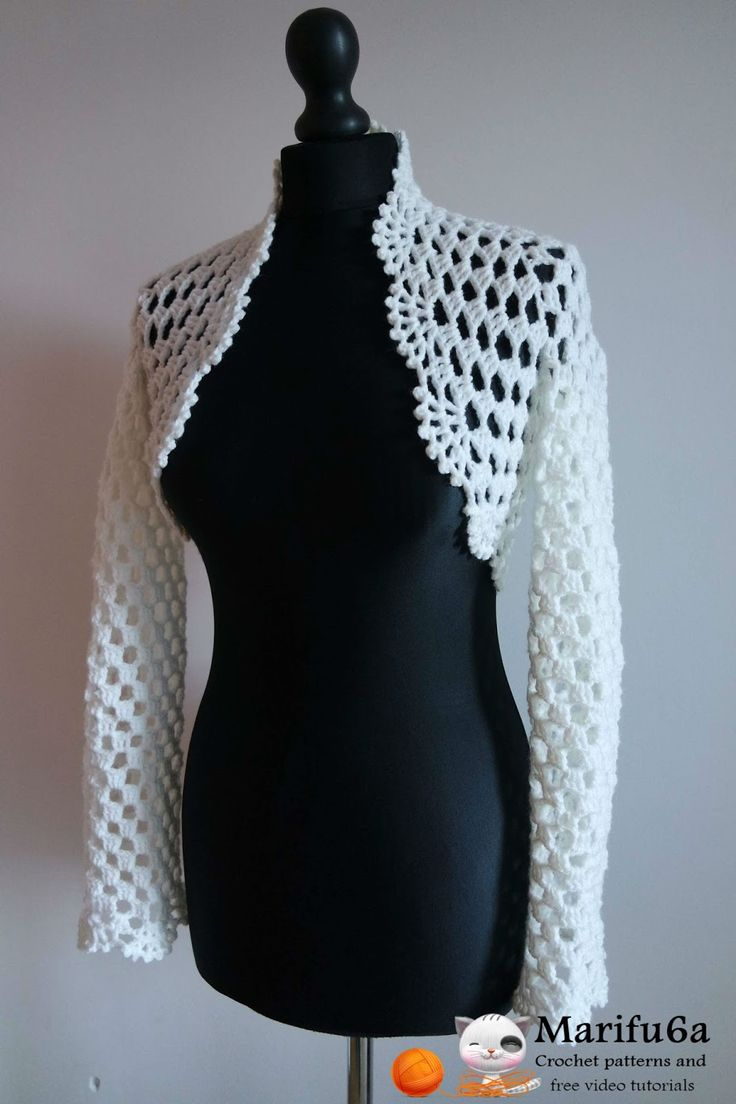 "Crochet pattern ""bridal easy bolero"" by marifu6a   Skill Level: Easy.   Size: All sizes(S-M-L-XL-XXL-XXXL-XXXXL)     Material: 2 balls..."