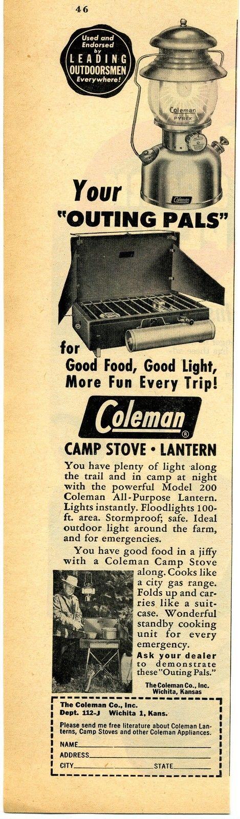 1952 Coleman Camping Camp Stove & Lantern