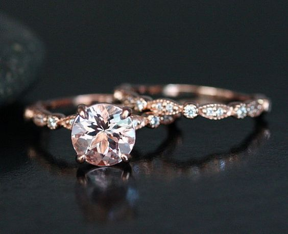 Morganite Wedding Ring Set in 14k Rose Gold by Twoperidotbirds / http://www.deerpearlflowers.com/rose-gold-engagement-rings/