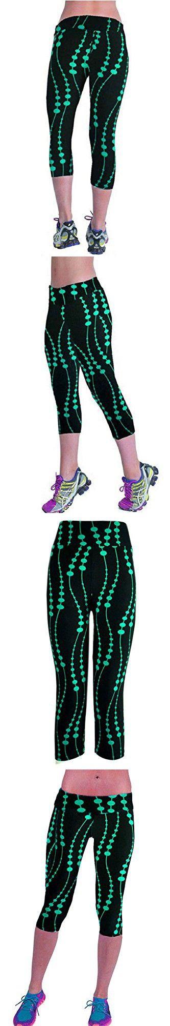 Ancia Womens Yoga Active Fitness Capri Leggings Gym Tights(Green Black,M)