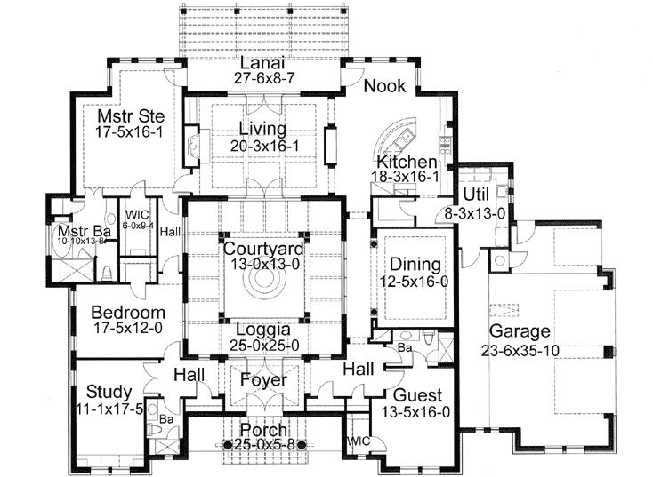 Southwest style house plans 3355 square foot home 1 for Southwest house plans with courtyard