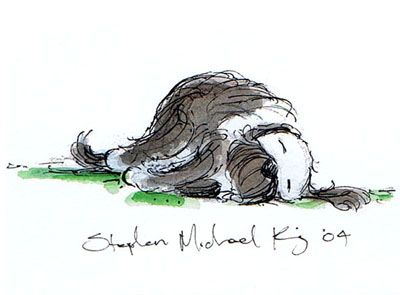 Stephen Michael King - original artwork from picture book Mutt Dog. Books Illustrated.