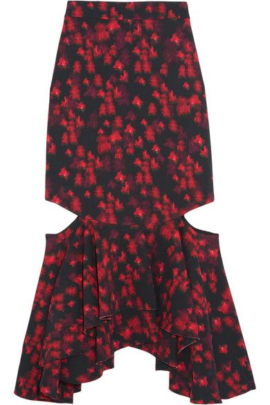 Givenchy - Cutout Ruffled Midi Skirt In Floral-print Stretch-satin - Red - FR38