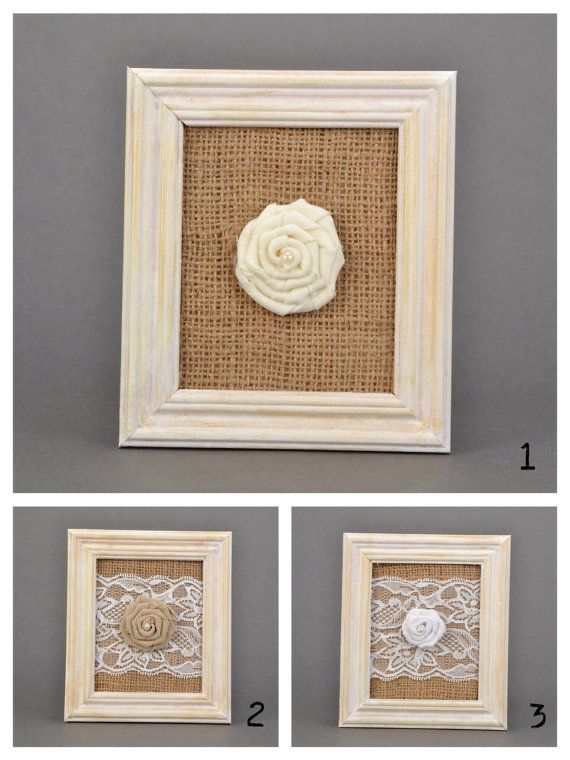 Wall panel White wooden frame with burlap and rose by KseniyaRevta