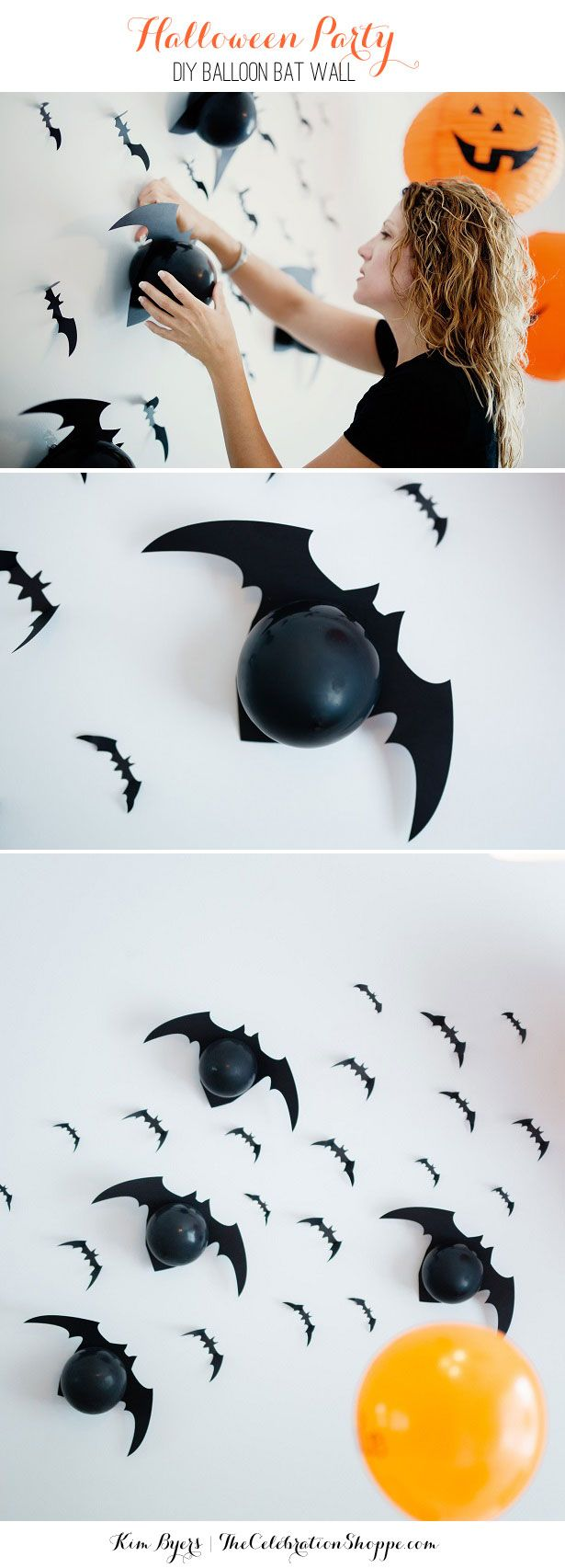 Halloween party decoration ideas diy - How To Make A Wall Of Balloon Bats For Your Halloween Party