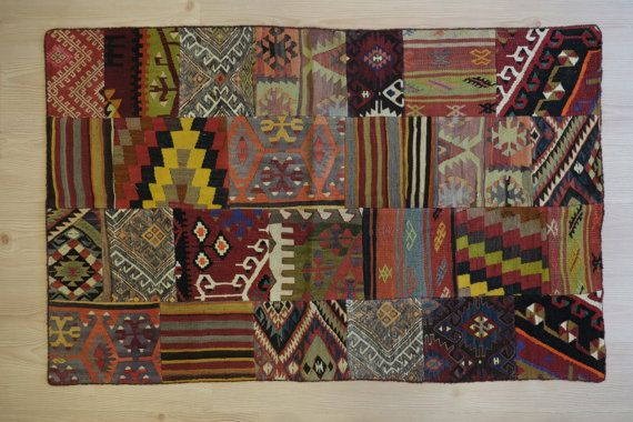 kilim rug Vintage Handwoven Kilim PatchworkRemake from by kilimci